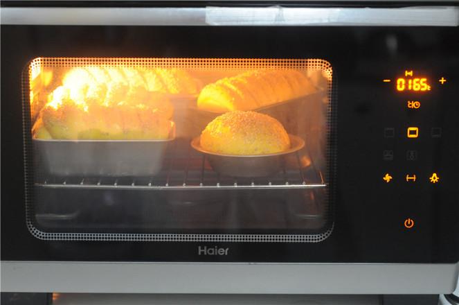 南瓜红豆芝麻斑纹土司的制作