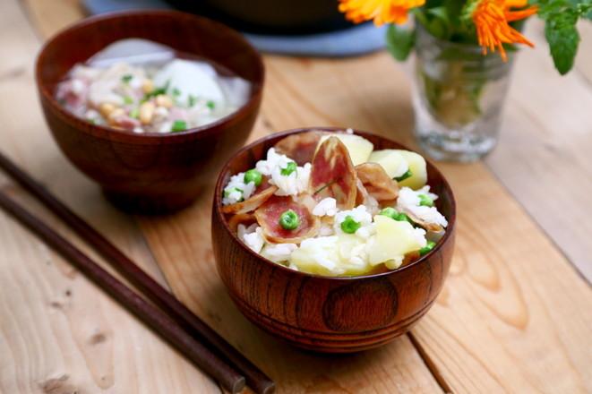 香肠土豆糙米焖饭怎样做