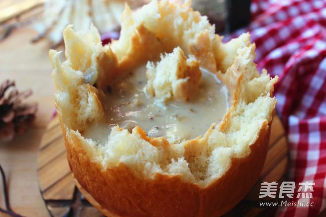 蛤蜊浓汤面包盅怎样做