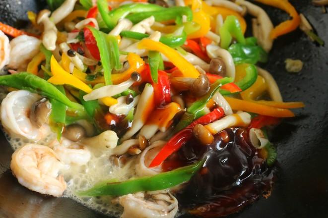 海鲜菇炒虾仁怎么炒