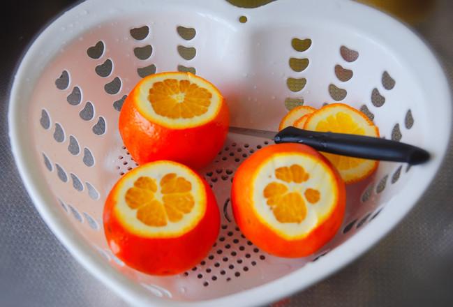 鲜橙蒸蛋的步骤