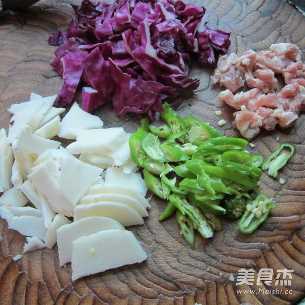 凉薯紫甘蓝炒肉的做法图解