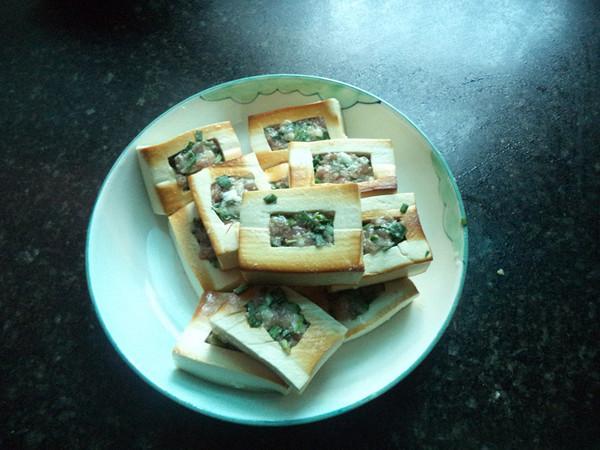 猪肉韭菜馅豆腐盒子的简单做法