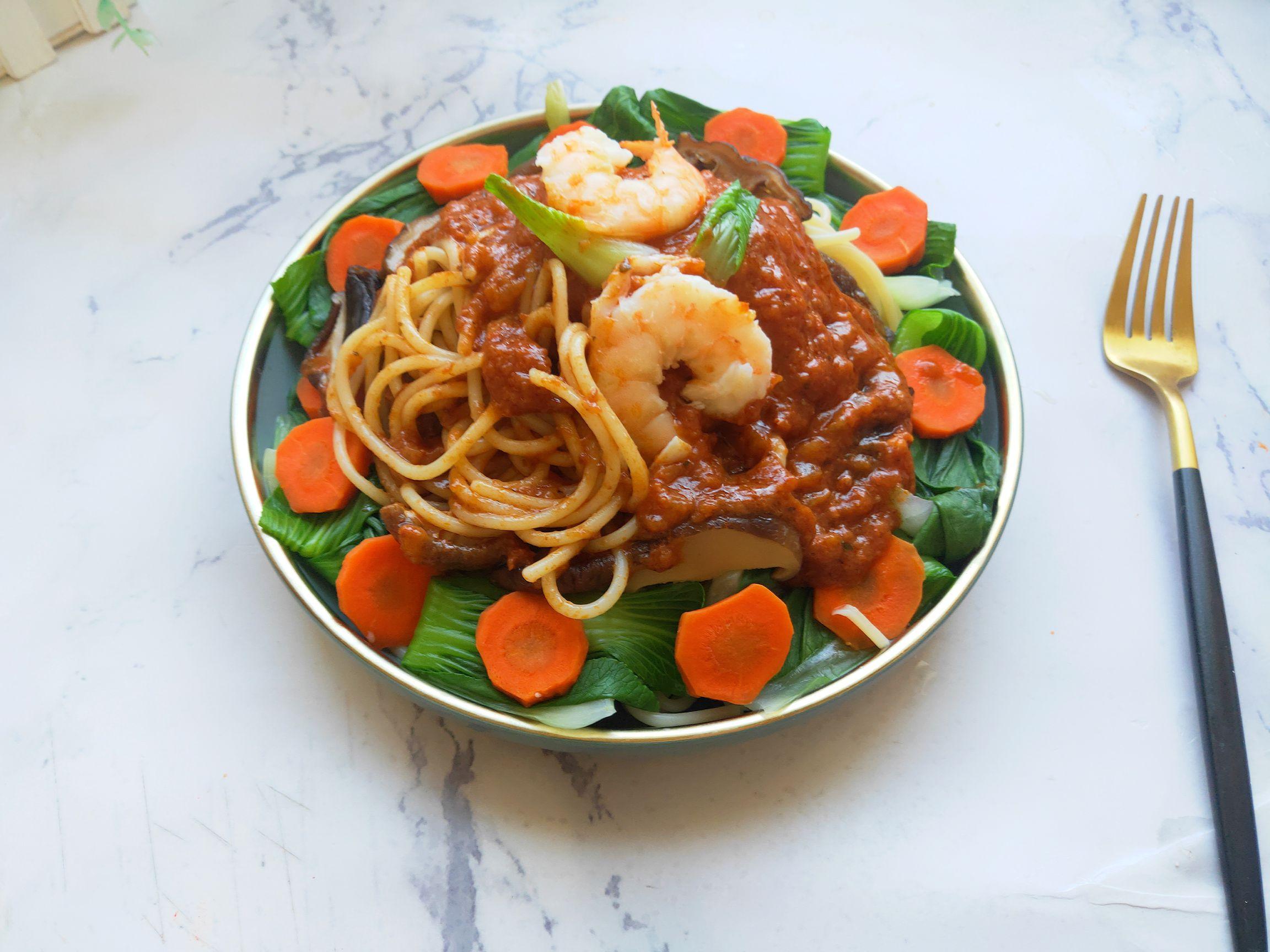 意大利肉酱鲜虾面的做法大全
