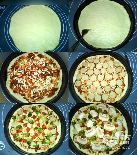 蘑菇鸡肉肠批萨的家常做法