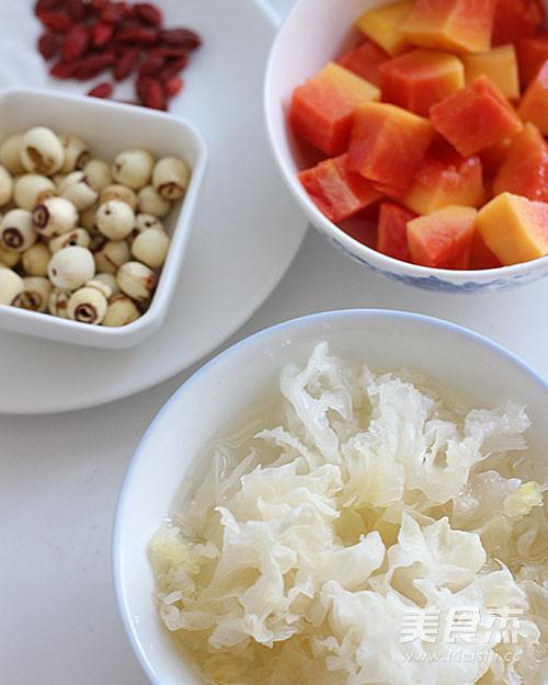 银耳木瓜莲子汤的做法图解