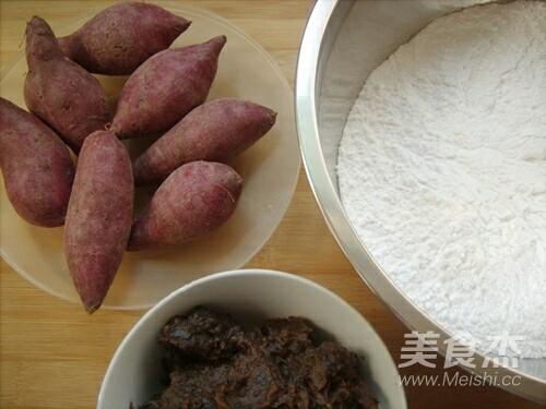 枣泥紫薯麻球的步骤