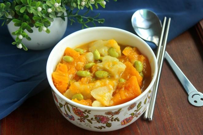 南瓜毛豆疙瘩汤成品图