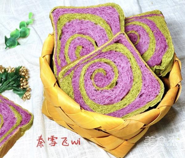 紫薯抹茶土司的制作