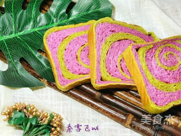 紫薯抹茶土司的制作方法