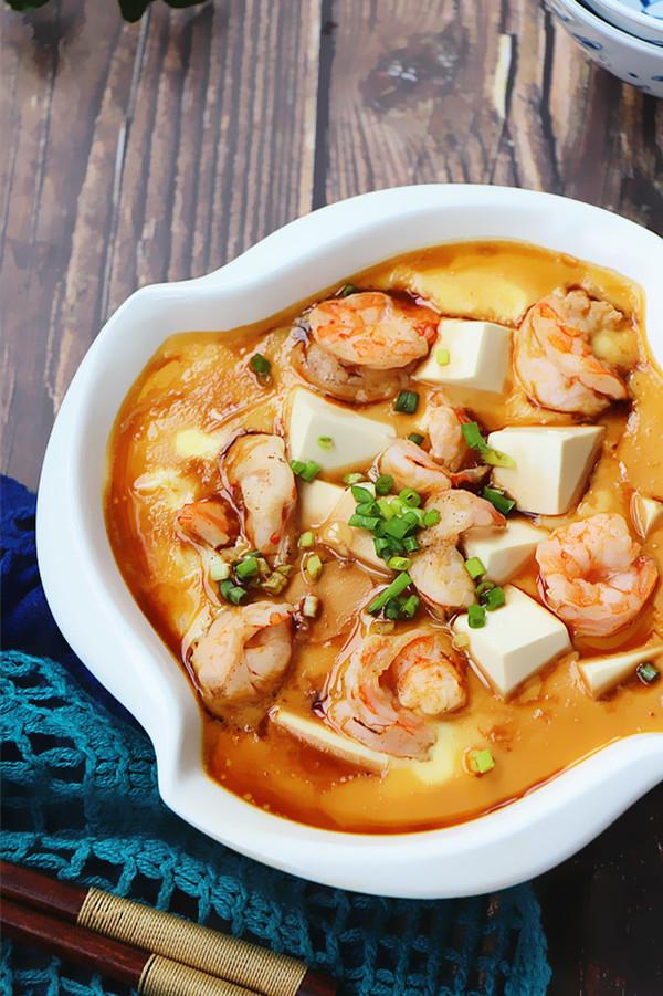 虾仁豆腐蒸水蛋成品图
