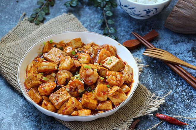 虾仁烧豆腐成品图