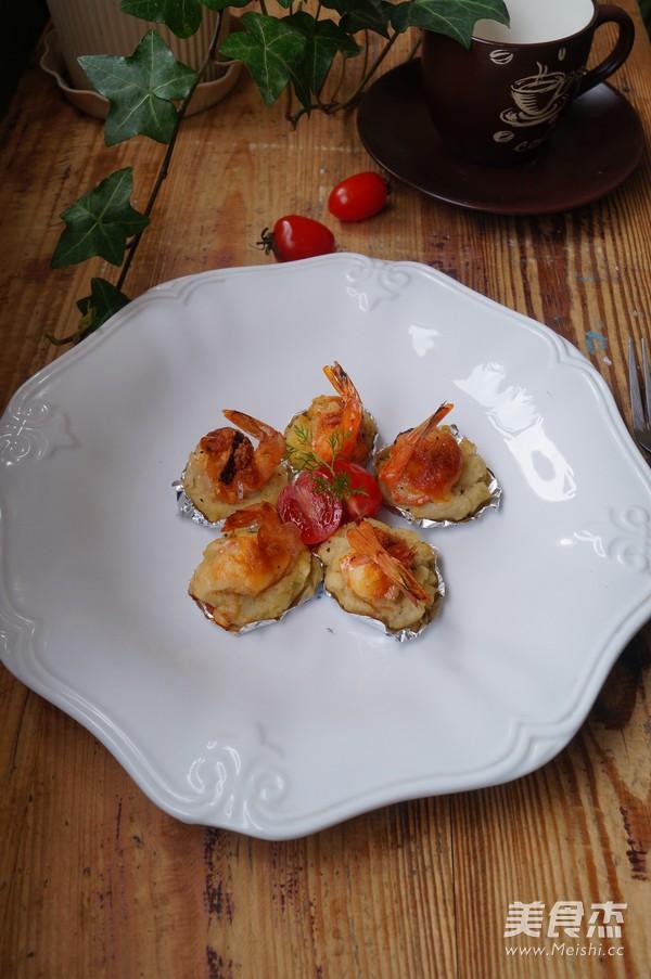 土豆饼焗芝士大虾成品图