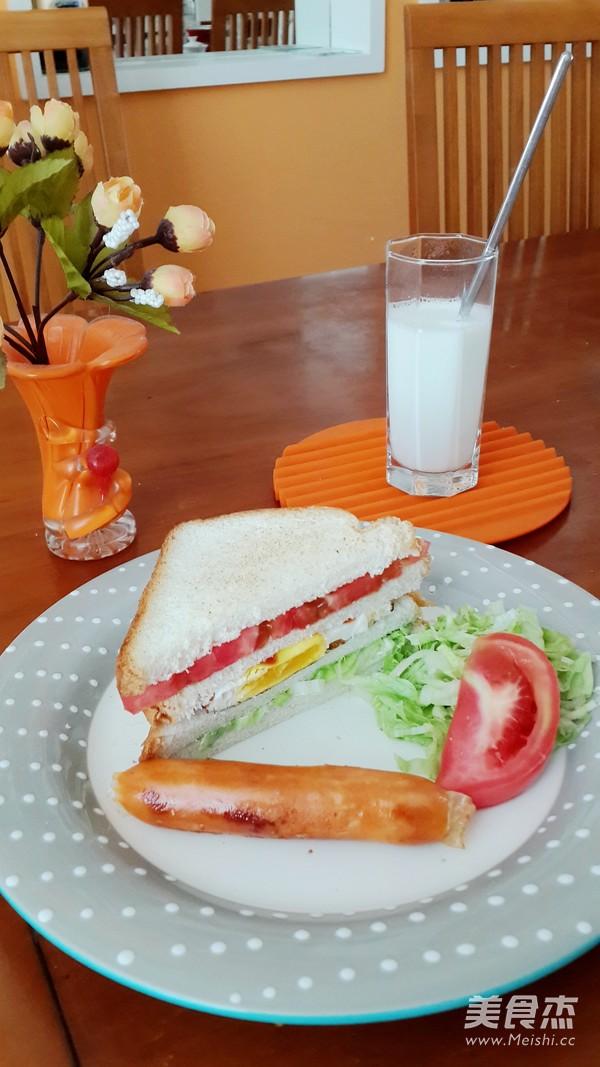 简单早餐三明治怎么吃