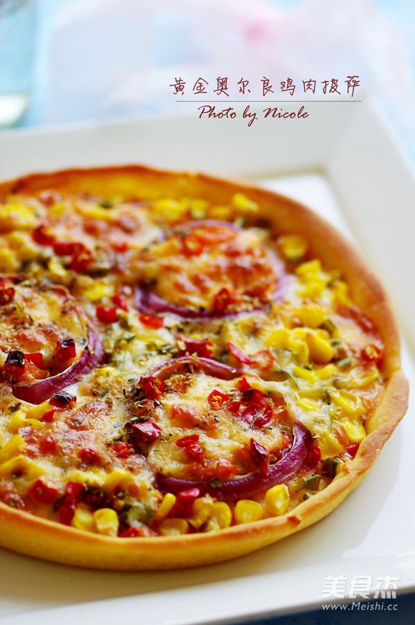 黄金奥尔良鸡肉披萨成品图