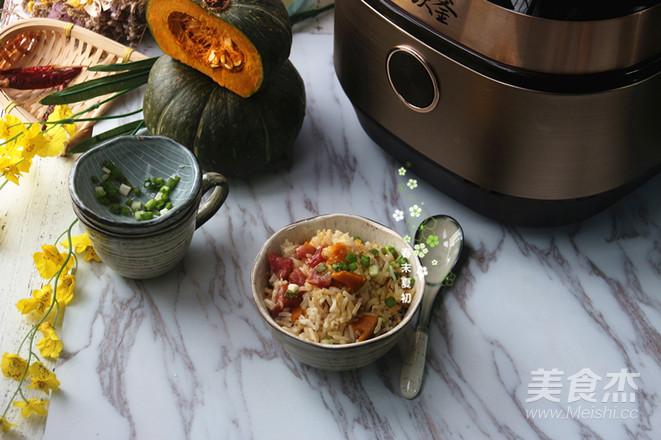 广式腊肠干贝南瓜焖饭成品图