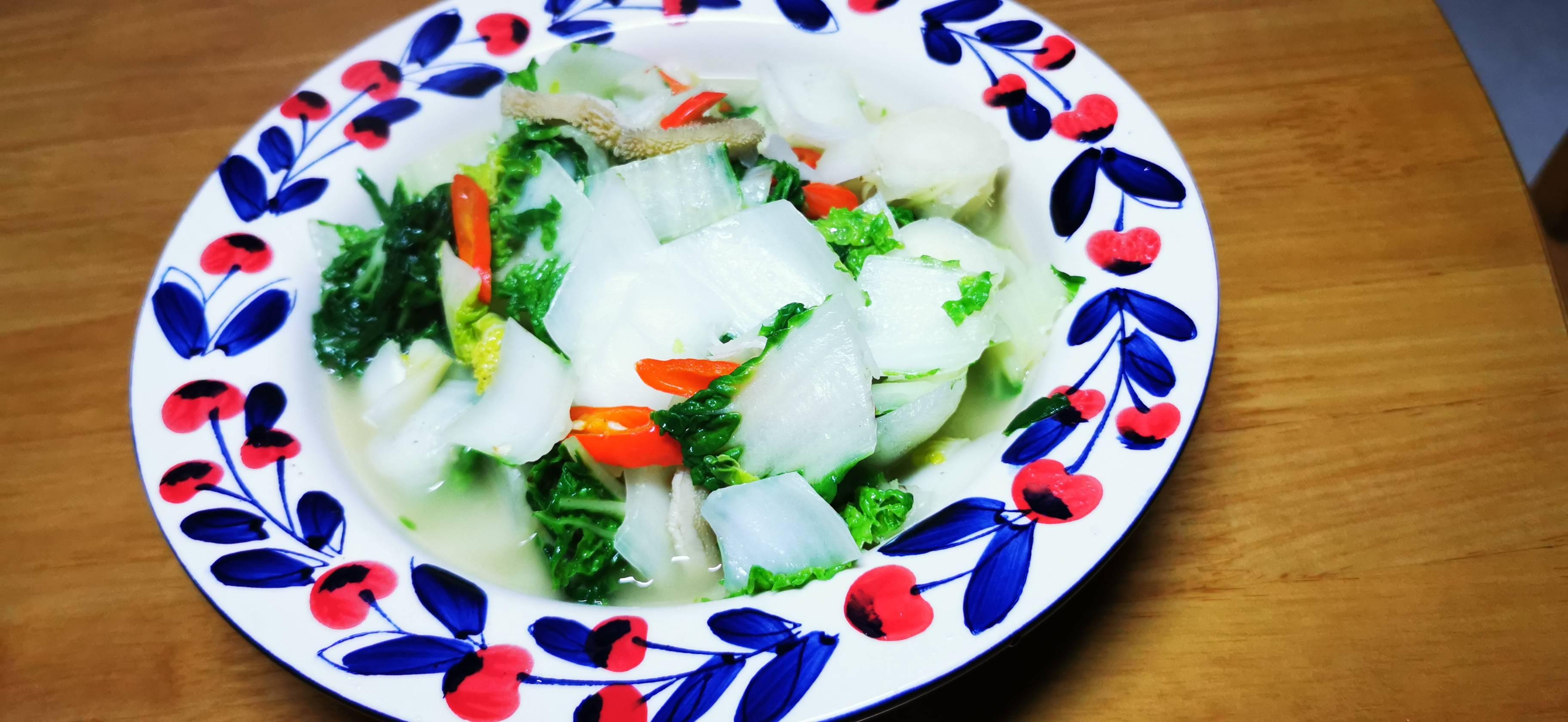牛肚炒奶油白菜成品图