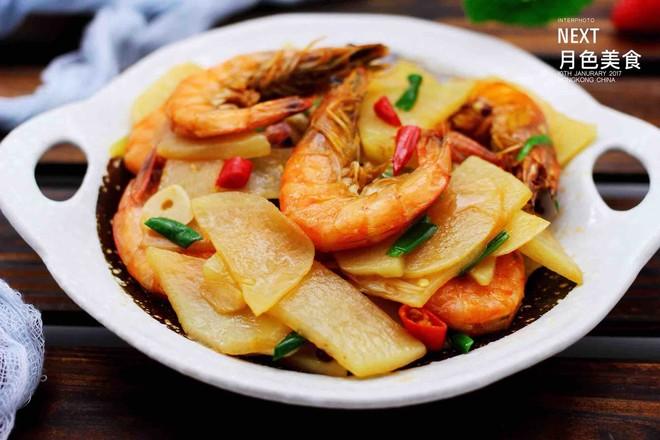 土豆片爆海虾的制作大全