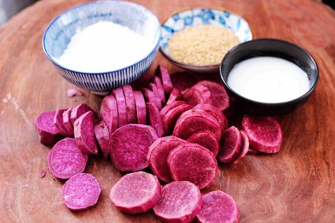 紫薯酸奶果仁芝麻饼的家常做法