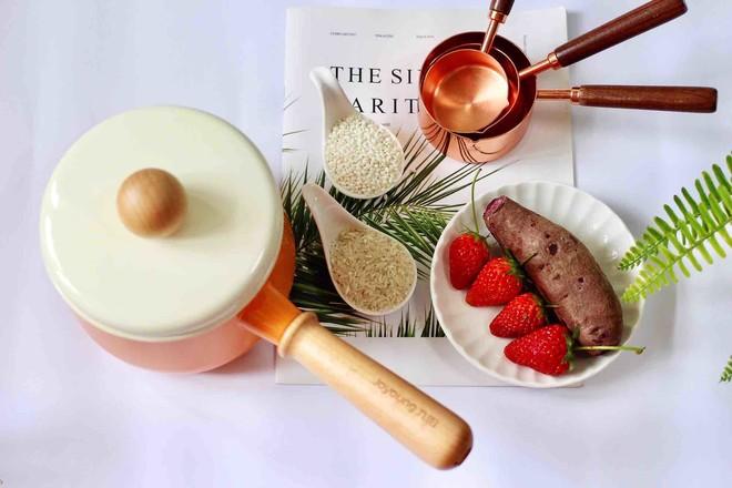 紫薯双米草莓粥的做法大全