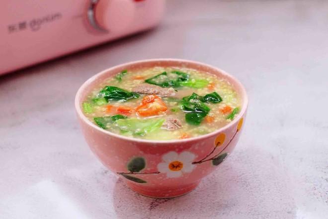 生滚猪肝时蔬小米粥的制作
