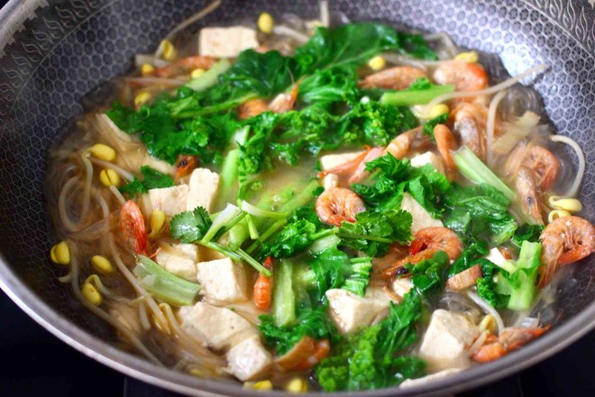 苔菜海虾粉条一锅炖的制作