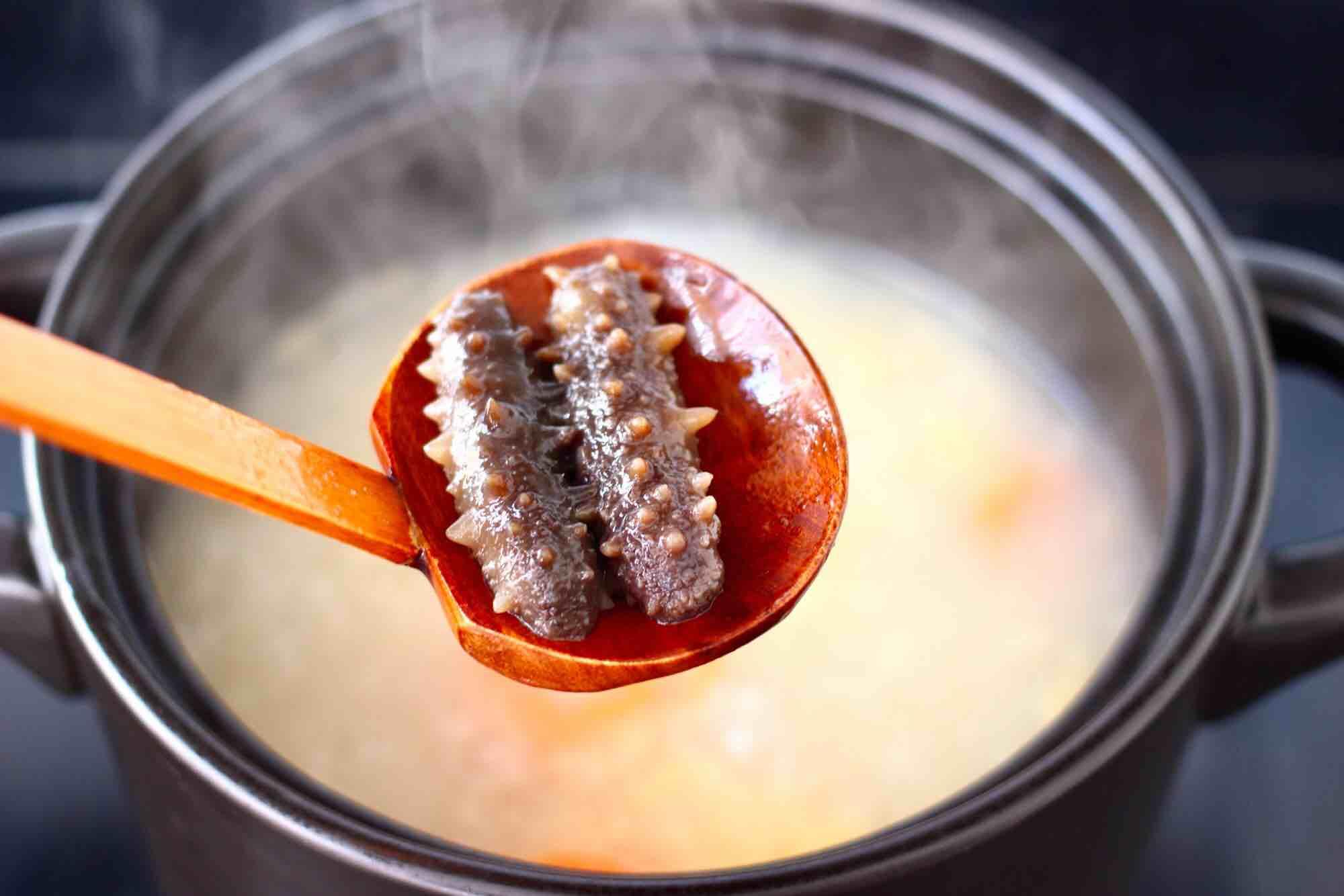 鲜虾海参砂锅粥怎样煸