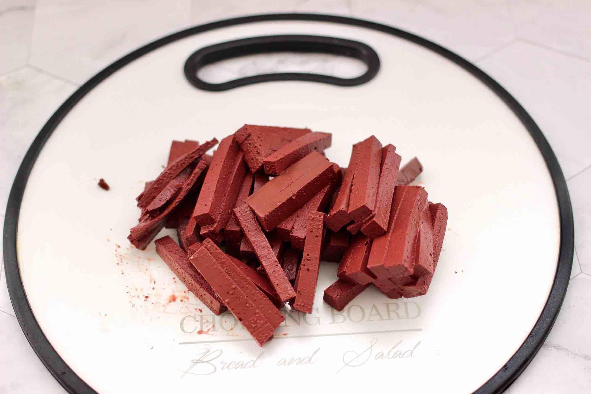 蒜香梅花肉炒猪血的做法图解