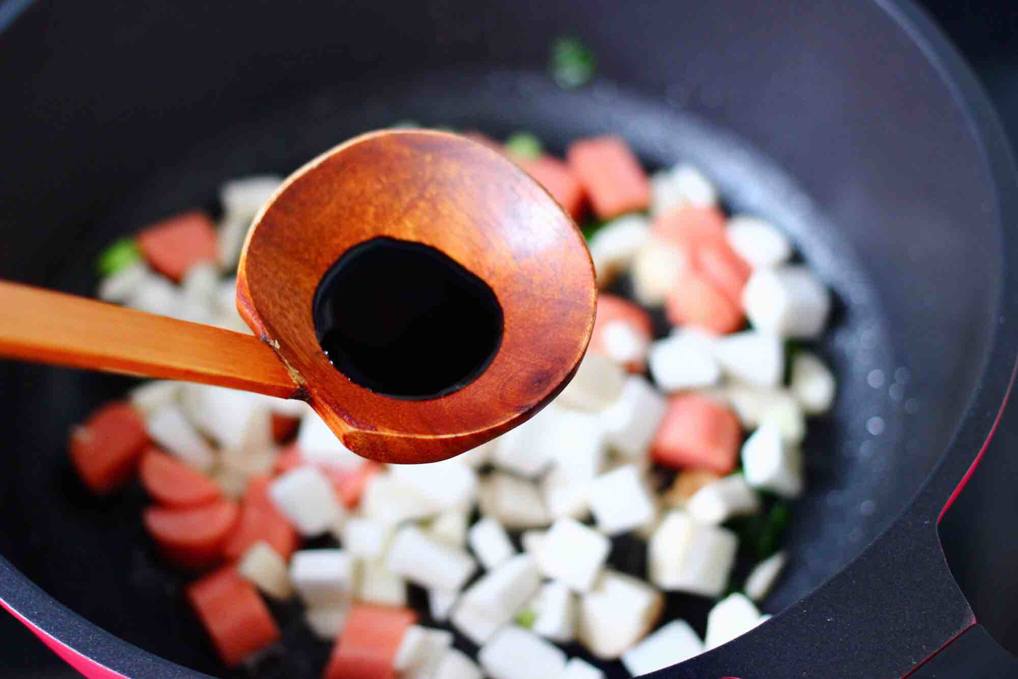 杏鲍菇火腿风味拌面怎么做