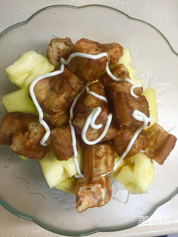 菠萝油条虾的制作