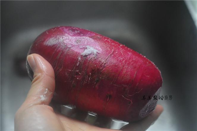 """春节必备的一道菜:""""花开富贵紫美人萝卜卷"""",寓意富贵吉祥,好彩头哦!的做法图解"""