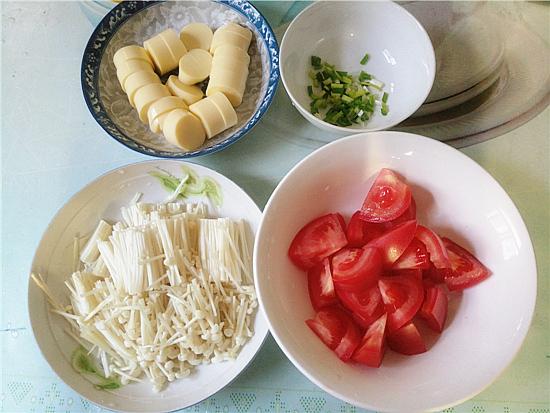 番茄金针菇烩鸡蛋豆腐的做法图解