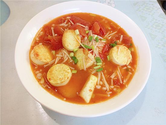 番茄金针菇烩鸡蛋豆腐怎么煸