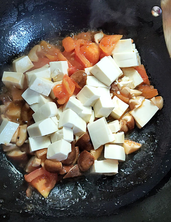 番茄香菇烩豆腐的简单做法
