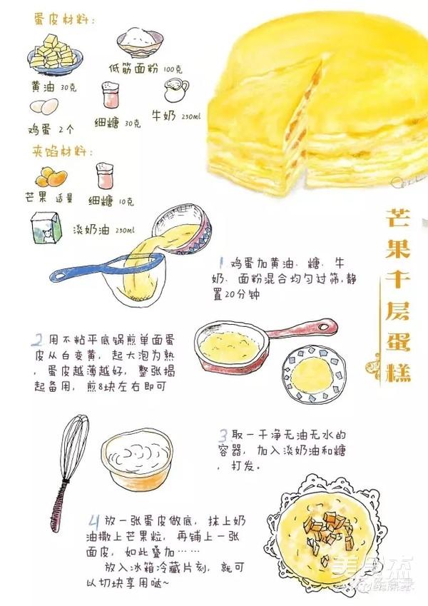 手绘食谱:芒果千层蛋糕 一口平底锅就可以做的甜品蛋糕怎么做