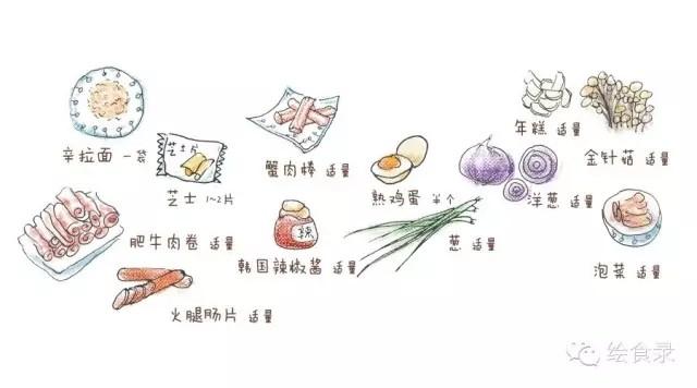 手绘食谱:韩式部队锅 宋仲基的泡面梗不仅仅是撩妹哦~的步骤
