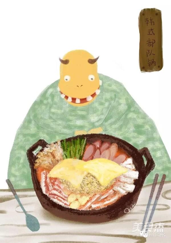 手绘食谱:韩式部队锅 宋仲基的泡面梗不仅仅是撩妹哦~成品图
