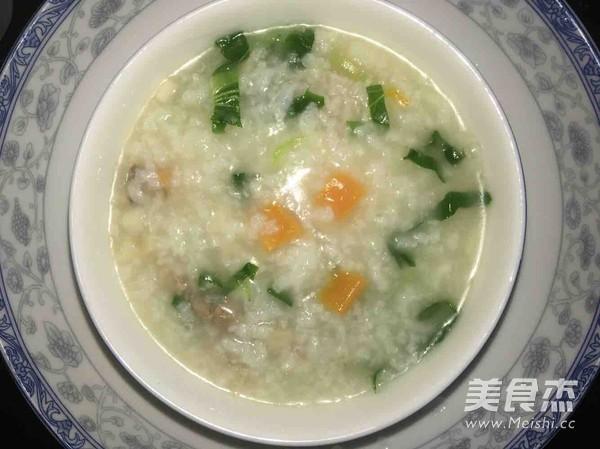 瘦肉胡萝卜杏鲍菇青菜粥成品图
