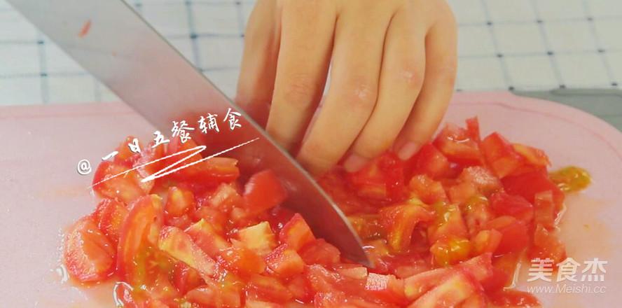 番茄鸡蛋奶酪米饼 宝宝辅食,奶香软嫩口感好的步骤