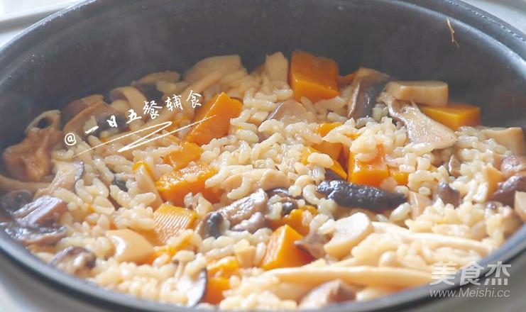 菌菇鸡肉饭 宝宝辅食,土豆+南瓜+口蘑+大米怎么煸