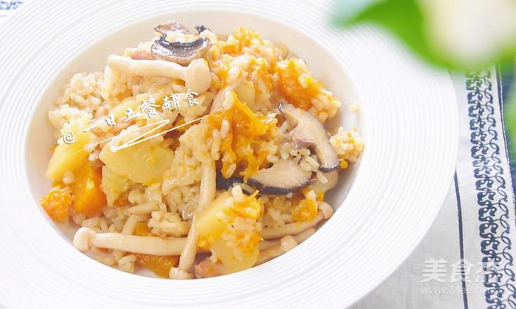 菌菇鸡肉饭 宝宝辅食,土豆+南瓜+口蘑+大米怎样煸