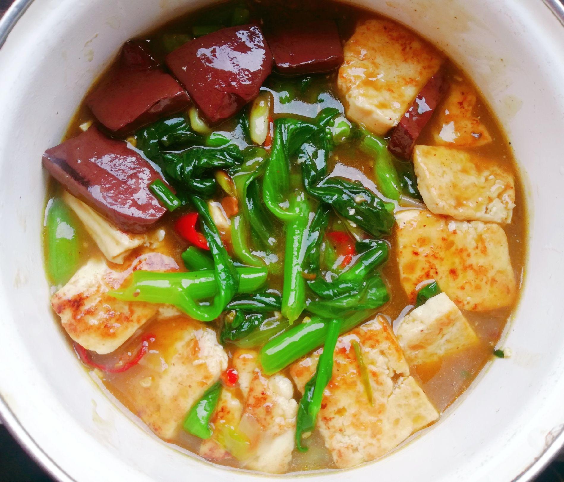 猪血豆腐菜心怎么吃
