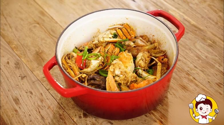 海鲜鸡煲蟹的制作