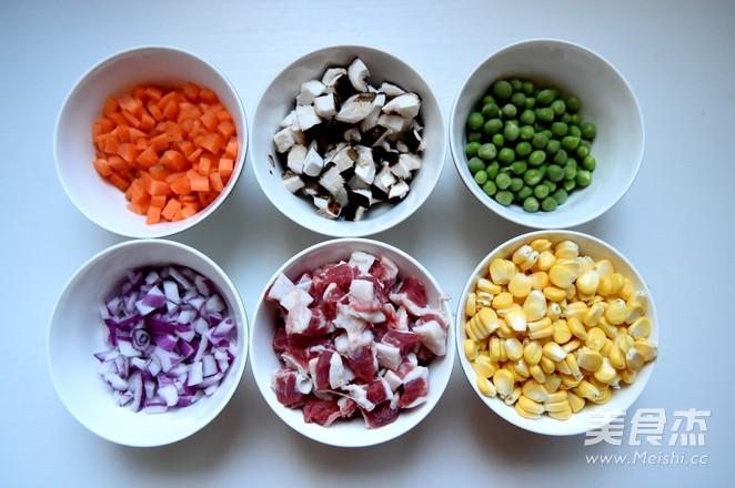 五彩时蔬糯米饭的家常做法