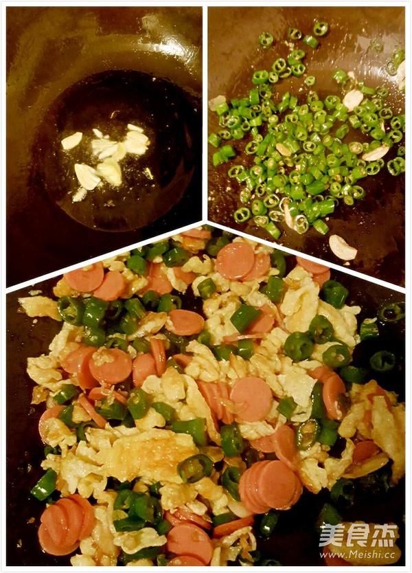 小米椒炒鸡蛋火腿的家常做法