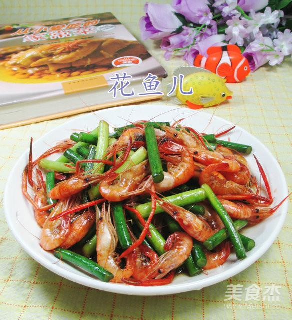 蒜薹炒河虾成品图