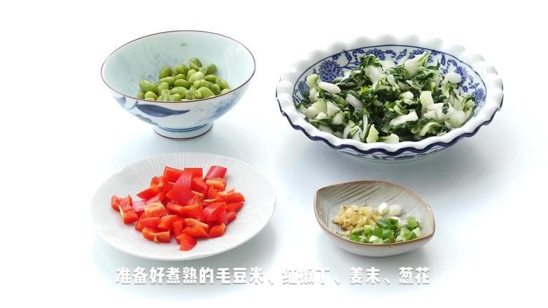 腌菜花炝毛豆米的简单做法