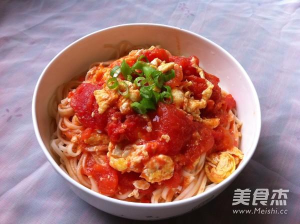 西红柿鸡蛋打卤面成品图