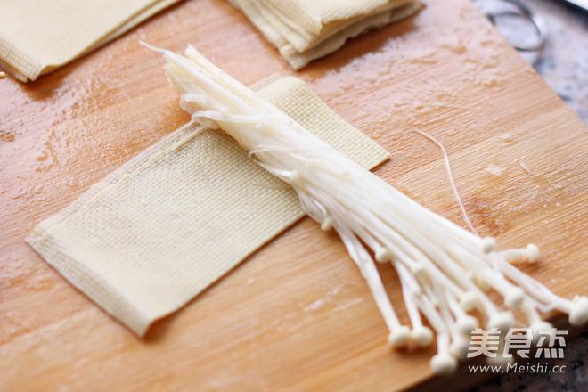豆腐皮烤金针菇的简单做法