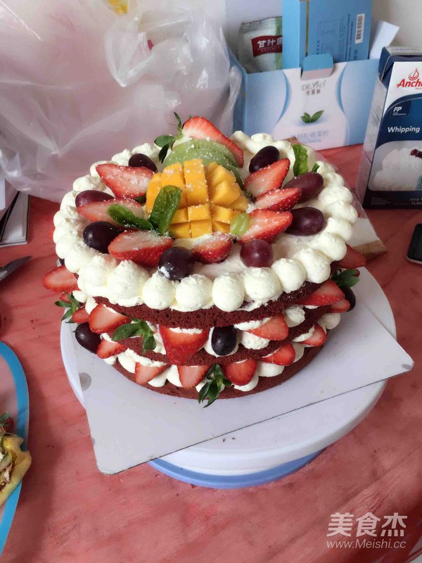 红丝绒裸蛋糕的步骤